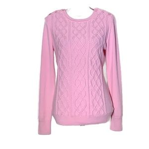 Talbots pullover cable knit pink sweater small